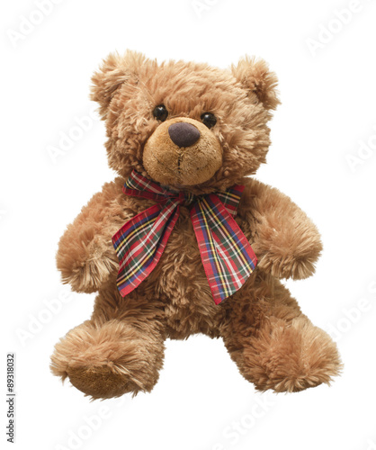 obraz lub plakat Teddy bear isolated on white bacground