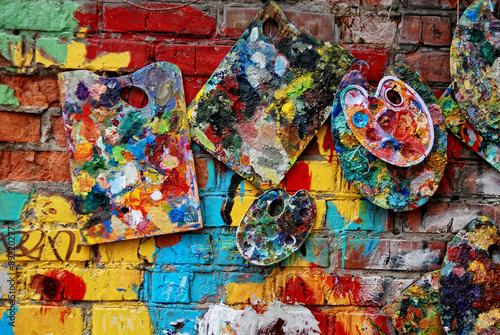 Foto op Aluminium Graffiti The city wall in paint