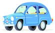 Caricatura Fiat Seat 600 azul vista frontal y lateral