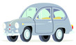 Caricatura Fiat Seat 600 gris vista frontal y lateral