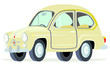 Caricatura Fiat Seat 600 beige vista frontal y lateral