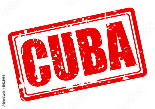 Cuba red stamp text Canvas Print