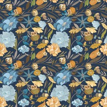 Creative Autumn Blue Vector Pattern