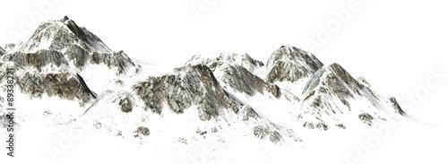 Snowy Mountains - Mountain Peak - separated on white background #89338221