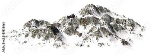 Photo  Snowy Mountains - Mountain Peak - separated on white background
