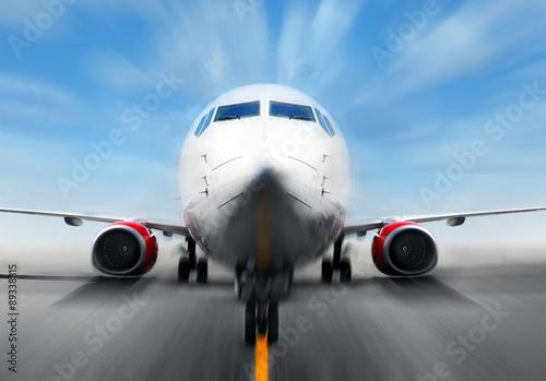 Fototapeta Airplane in the runway obraz na płótnie
