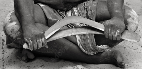 Hands of Yugambeh Aboriginal worrior man  holds boomerangs Canvas Print