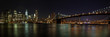 Leinwanddruck Bild - New York - Manhattan mit Brooklyn Bridge Panorama bei Nacht