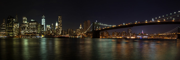 Panel SzklanyNew York - Manhattan mit Brooklyn Bridge Panorama bei Nacht