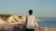 Young female tourist enjoying beautiful view, Corsica, Bonifaccio