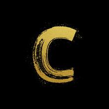 Gold Glittering Brush Hand Painted Letter C