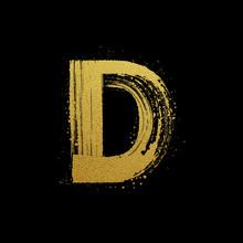 Gold Glittering Brush Hand Painted Letter D
