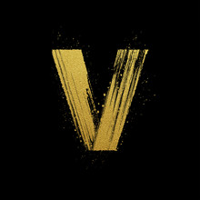 Gold Glittering Brush Hand Painted Letter V