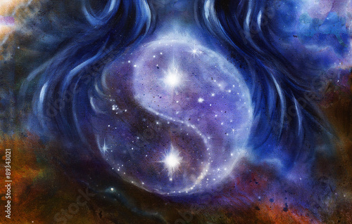 Fotografiet  Yin Yang Symbol in space with  stars, about woman hair