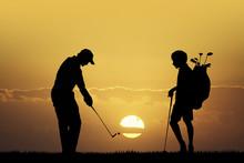Golf Tournament At Sunset