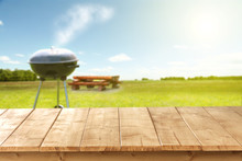 Wooden Desk And Grill