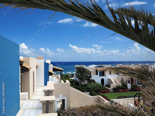 Staande foto Tunesië Luxury view of greek village on Crete tropical minoan style arch
