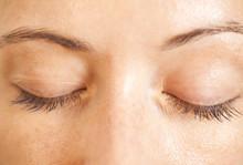 Closeup Shot Of Woman Closed Eyes With Makeup