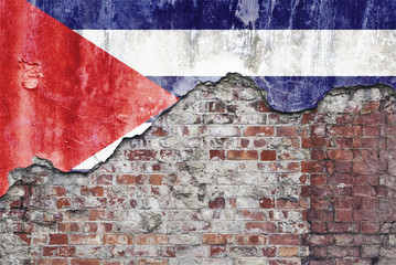 Cuban Flag On Grungy Wall