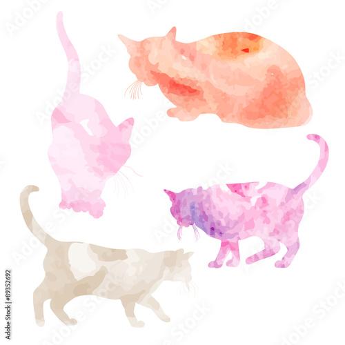 Foto op Aluminium Milkshake Vector illustration of hand painted watercolor cats. Watercolor