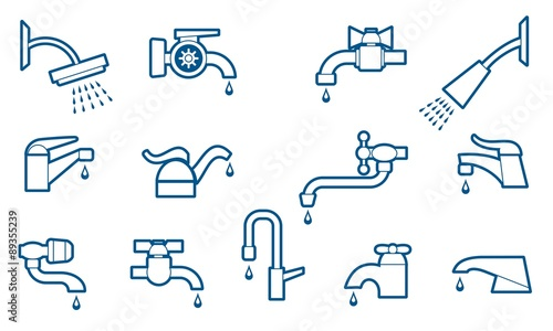 Fotografie, Obraz Water tap or faucet line icons set