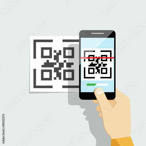 Fotografie, Obraz  Capture QR code on mobile phone