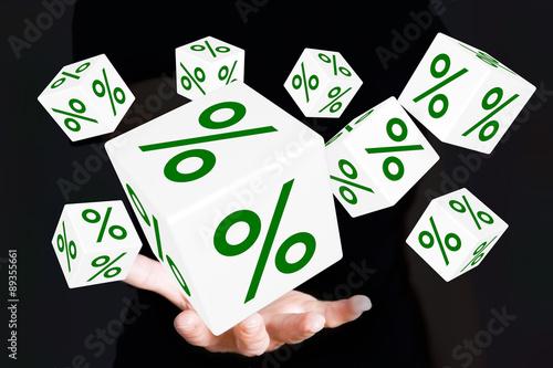 Fotografie, Obraz  Hand with percent Cubes