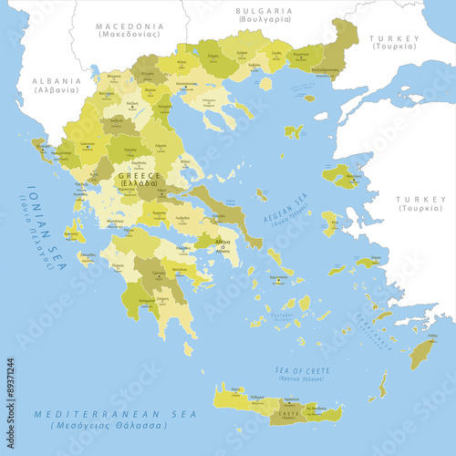 Fotomural  Highly detailed map of Greece, vector.