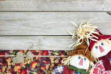 Blank Rustic Sign With Scarecrows And Autumn Decor