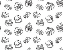 Different Types Of Hand Drawn Cute Cupcakes And Cakes