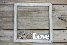 Rustic Wood Sign With LOVE And...