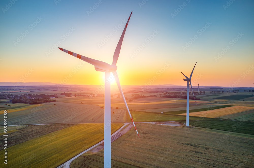 Fototapety, obrazy: Sunset above the windmills