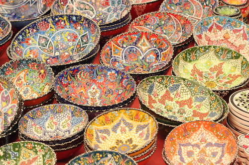 Classical Turkish ceramics in a local turkish bazaar - Buy this