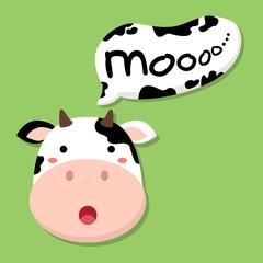 Fototapetacute cow head saying