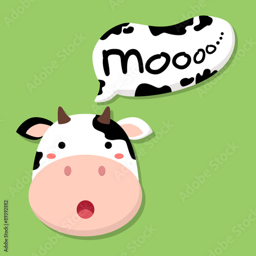 cute cow head saying