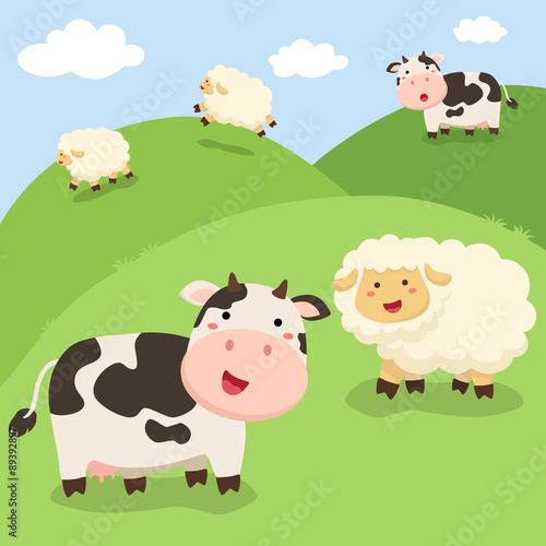 A group of cute cow and sheep standing in field background - 89392897