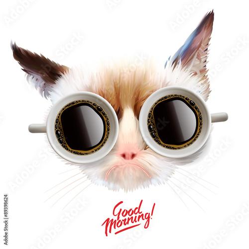 dzien-dobry-smieszny-kot-z-filizankami-kawy