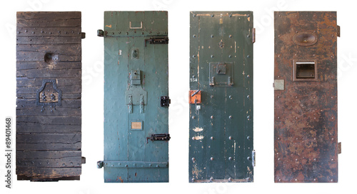 Fotografie, Tablou  Collection of four old prison doors