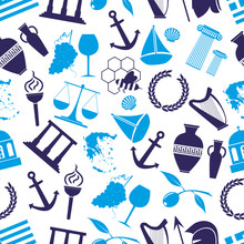 Greece Country Theme Symbols Seamless Blue Pattern Eps10