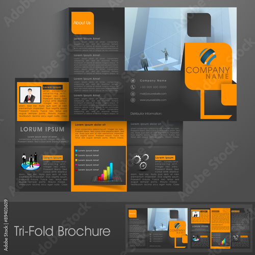 professional tri fold brochure template or flyer for business
