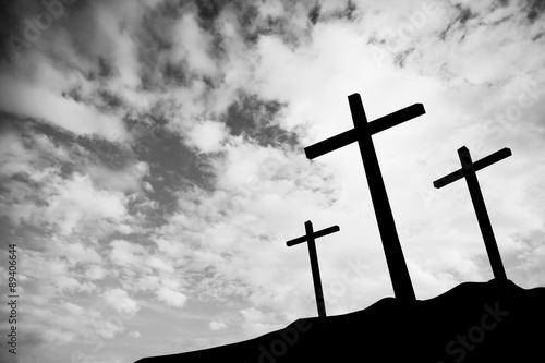 Leinwand Poster Drei Kreuze auf einem Hügel