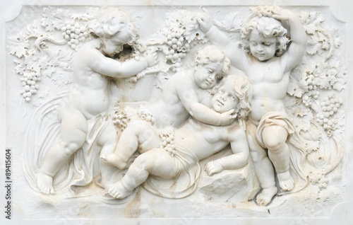 Black and white photography of basrelief with cherubs Canvas Print