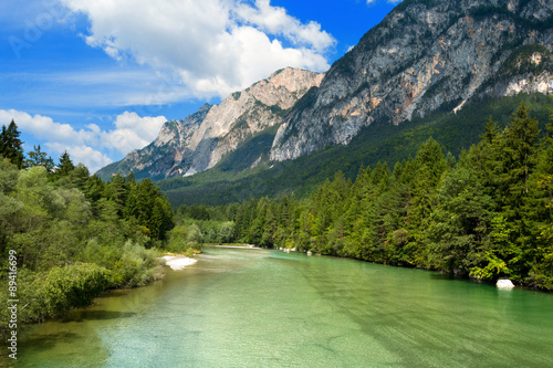 Photo  Gail River - Carinthia Austria / The green Gail River the largest tributary of the Drava River