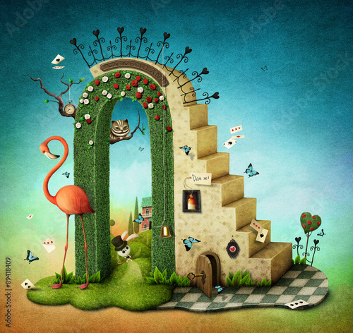 Illustration or poster with stairs and green arch with fabulous items