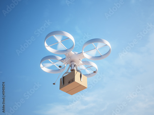 Drone delivering a package Canvas Print