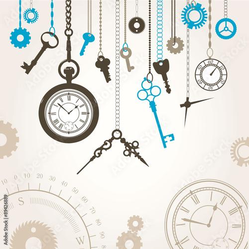 ilustracja-wektorowa-tarczy-kompasu-kluczy-i-czesci-godziny