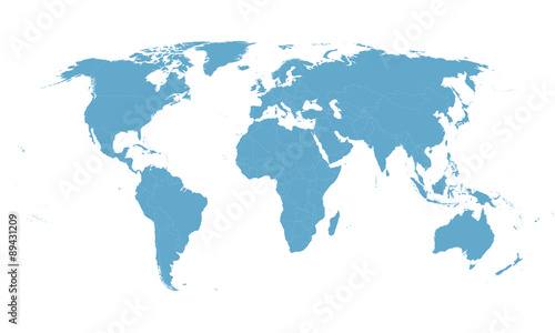 Spoed Foto op Canvas Wereldkaart blue vector world map with all country borders