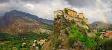 Corte - Impressive Medieval Town In Corsica, View With Citadel And Rainbow