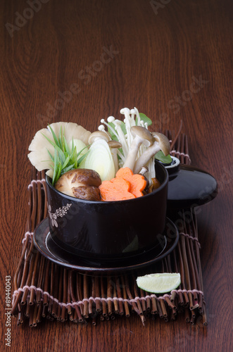Poster Fleur japanese cuisine. soup on the background