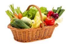 Basket With Various Fresh Vege...